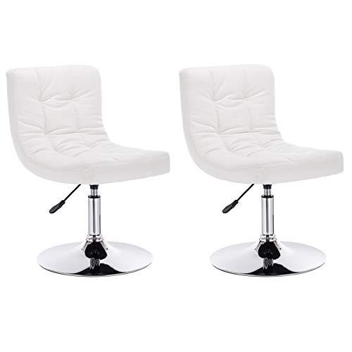 WOLTU® 2er Set Barsessel Loungesessel mit Rückenlehne, stufenlose Höhenverstellung, drehbar, Kunstleder, Weiß, BH119ws-2