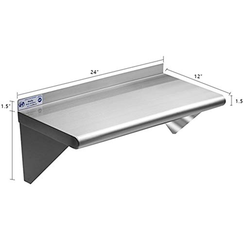 Stainless Steel Shelf 12 x 24 Inches, 230 lb, Commercial NSF Wall Mount Floating Shelving for Restaurant, Kitchen, Home and Hotel