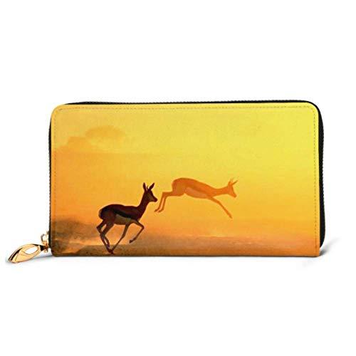 JHGFG Mode Handtasche Reißverschluss Brieftasche Springbock African Wildlife Hintergrund Laufen Gold Telefon Kupplung Geldbörse Abendkupplung Blockieren Leder Brieftasche Multi Ca.