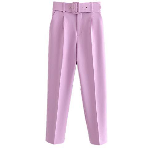 U/A pantaloni signora alta elegante donna carriera pantaloni Fusciacche casual rosa L