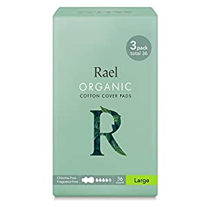 Rael Organic Cotton Menstrual Pads - Ultra Thin & Light Natural Sanitary Napkins with Wings (3 Pack)