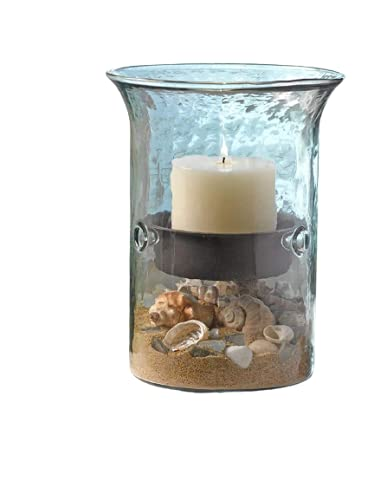 Glass Hurricane Pillar Candle Holder with Rustic Metal Insert, Perfect as a Centerpiece (Small)