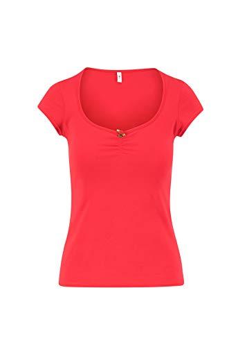 Blutsgeschwister Damen T-Shirt Logo Shortsleeve Feminine Kurzarm Shirt Basic Rot M