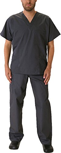 Natural Workwear Uniform Mens Medical Nurse Scrub Set, Pewter 39922-Large
