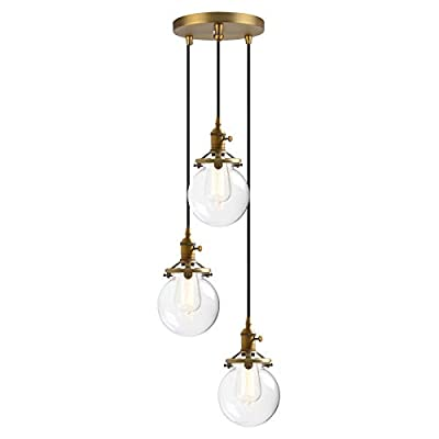Phansthy 3 Lights Chandelier Light with Clear Glass Canopy