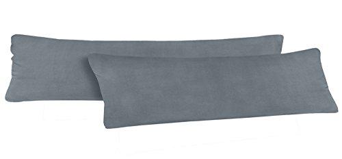 Seitenschläferkissen Bezug 40 x 145 cm | 100 % Baumwolle | Öko-Tex | 2er Set | Hochwertiger Jersey | Kissenhülle | Anthrazit/Grau