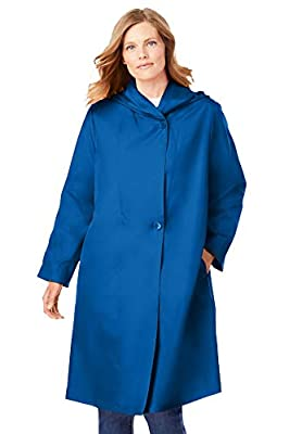 Woman Within Women's Plus Size Packable Hooded Raincoat - 22 W, Deep Cobalt from Woman Within