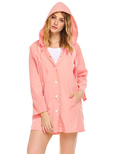 SoTeer Womens Rainwear Active Outdoor Hooded Cycling Packable and Lightweight Jacket(Pink-XXL)