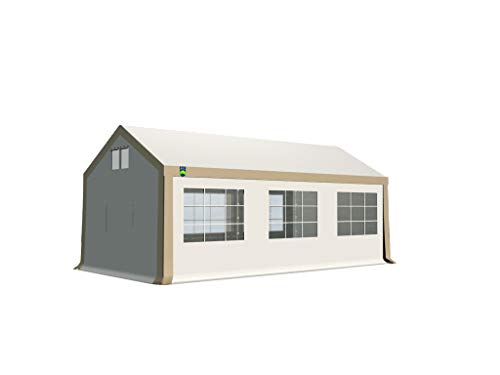 KC Partyzelt 3x6 m Pavillon Zelt 500g/m² - PVC Plane - Gartenzelt Festzelt Bierzelt - Rahmen aus Stahl - Inkl. Seitenwände & Giebelwände - Beige