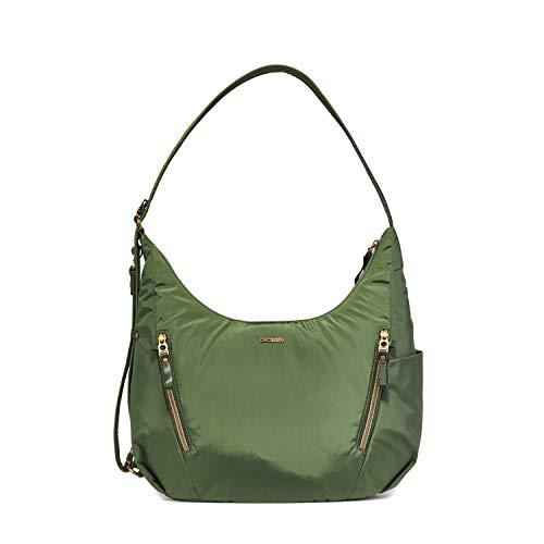 Pacsafe Stylesafe Convertible Crossbody und Schultertasche, Umhängetasche für Damen, Handtasche mit Diebstahlschutz, Sicherheits-Features - 10 Liter, Uni, Grün/Kombu Green