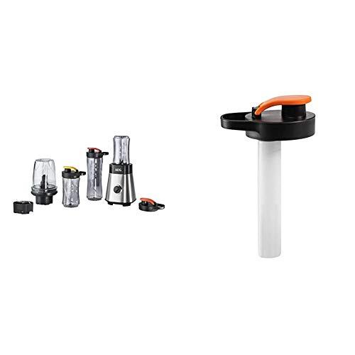 AEG MiniMixer SB 2900 Standmixer (1x 600 ml und 2x 300 ml Tritan-Flaschen, Kühlakku, 500 ml Zerkleinerer, 4-Klingen Messer, Drehregler) & ASBS1 Kühlstick und Deckel für Minimixer