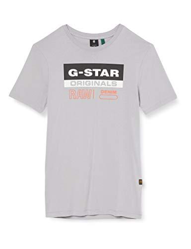 G-STAR RAW Mens Originals Label Logo Slim T-Shirt, Steel Grey 336-B959, L