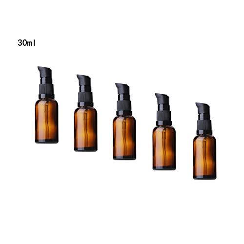Ssowun Glasflaschen Glaslotion Leere 5 Stück, 30ml Nachfüllbare Airless Vakuumpumpe Reise Flaschen Creme Lotion Flasche Toilettenartikel Flüssigkeit Container Kosmetik Make-up