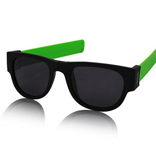 SUNGLASSES @Glasses Eyewear Lunettes incurvées pliables – polarisées vintage – Carré – Bande tendance (couleur : #2)