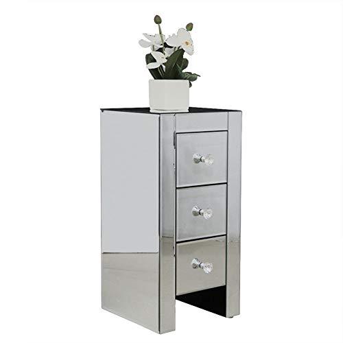 Mesa auxiliar con espejo, espejo con 3 cajones, mesita de noche con acabado plateado para sala de estar/dormitorio