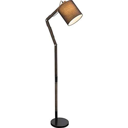Elegante lámpara de pie articulada de madera y metal con pantalla para bombilla de rosca E27.