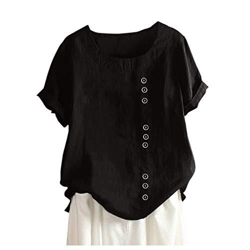 VEMOW Camisetas Mujer Tallas Grandes Camisa De Manga Corta Blusa Casual Botones Túnica Camiseta Cuello Redondo S-5XL, Moda Impresión Algodón Lino Primavera Verano Informal Camisas(A Negro,XXL)