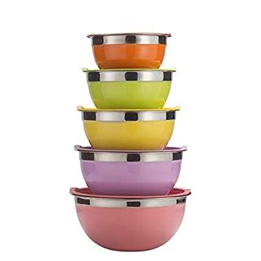Sauran 5 Piece Mixing Bowls Large 5 Quart Capacity Stainless Steel Bowl Set With Colorful Lids for Kitchen, Camping and Food Storage and Cotton Towel as Gift by Free