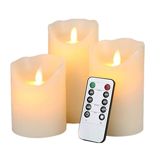 "HEIOKEY Electronic LED Candle Set of 3 (4"" 5"" 6"") Real Wax Moving Wickess LED Flameless Candles Pillar Lights Battery Operated with Timer and Remote Control for Gifts and Decoration(Ivory White)"