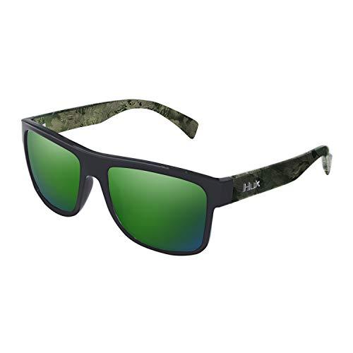 HUK Men's Polarized Panto Sunglasses, (Clinch) Green Mirror/Southern...
