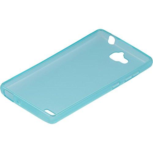 PhoneNatic Case kompatibel mit Huawei Honor 3C - türkis Silikon Hülle transparent + 2 Schutzfolien - 4