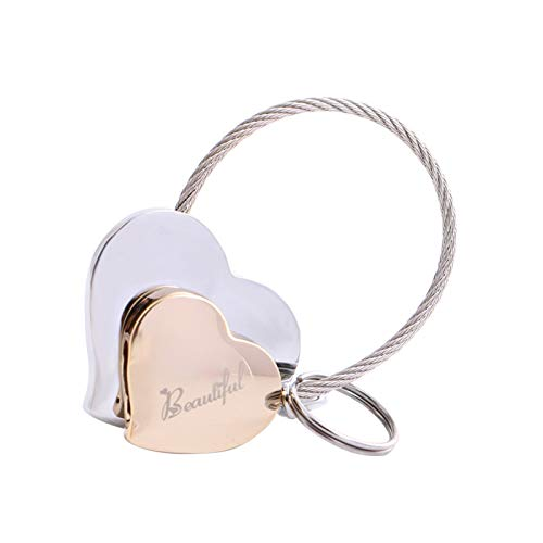 MILESI Heart to Heart Metal Keychain of Love for Women Sweet Couples Gift/Christmas Present (Silver-light gold)