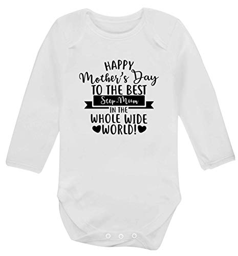 Flox Creative Body bébé manches longues Happy Mother's Day Best Step-Mum in World - Blanc - X-Large