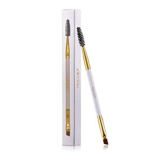 Docolor Duo Eyebrow Brush, Professional Tool, Angled Eye Brow Brush and Spoolie Brush White