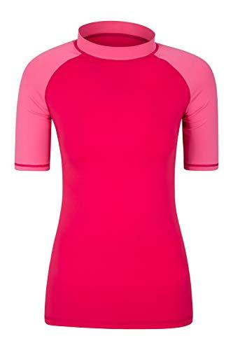 Mountain Warehouse Kurzärmeliges Badeshirt mit UV-Schutz für Damen - LSF50+, schnelltrocknendes Rash Guard, Flache Nähte - Für Schwimmen, Strand - unter Neoprenanzug Rosa 38 DE (40 EU)