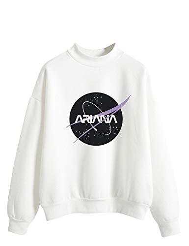 Ariana Grande Felpa per Donna Ragazza,Trend Singer Sweetener Thank u, Next Felpa Hoodie PulloverTinta Unita Stampa di Lettere Maglione Manica Lunga (Bianco,S)