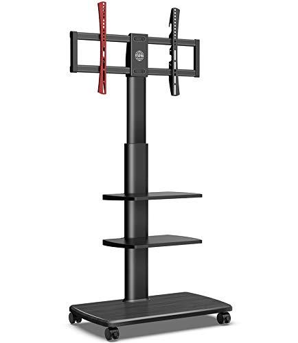 FITUEYES Carrito para TV móvil con Piso de Base de Madera Soporte para TV con Ruedas 3 estantes para Pantalla de 32 'a 65' Altura Ajustable giratoria Sostiene 40 kgs MAX VESA 600 * 400 mm TT306503GB