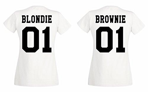 TRVPPY BFF Blondie & Brownie - Camiseta para mujer colores