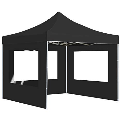 Ausla Pabellón de Fiesta Plegable 2 x 2M, Cenador de Jardín con Pareds Resistente a los Rayos UV, Carpa de jardín Plegable para Exterior, Gris Antracita
