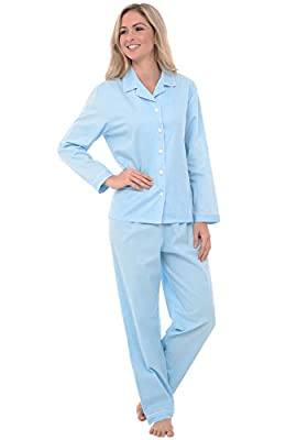 Alexander Del Rossa Women's Lightweight Button Down Pajama Set, Long Cotton Pjs, Large Light Blue with White Polka Dots (A0517R54LG) by Alexander Del Rossa