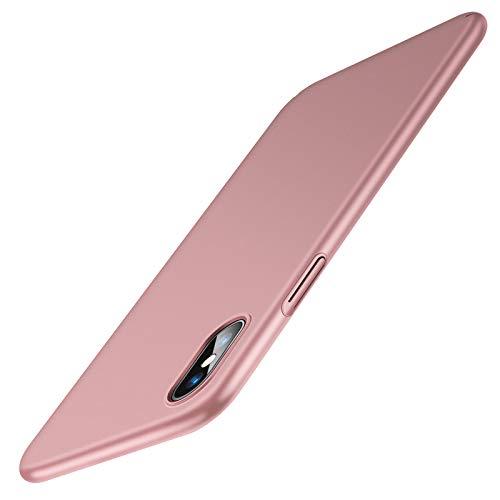 TORRAS Ultra Dünn für iPhone X Hülle/iPhone XS Hülle mit Panzerglas [1 Hülle+2 Panzerglas] Slim Matte iPhone X Hülle/iPhone XS Hülle Anti-Fingerabdruck Handyhülle für iPhone X/Xs-Rose Gold
