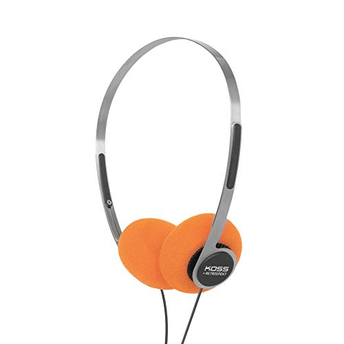Koss x Retrospekt P/21 Retro On-Ear Headphones, Retro Orange Foam, Adjustable Headband, Wired 3.5mm Plug, Orange Black and Silver