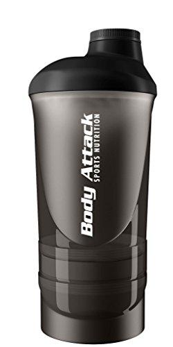 Body Attack ShakeOne Proteinshaker - Eiweisshaker inkl. Portionsbehälter - 600ml (Schwarz)