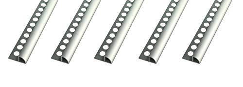 25 METER – Höhe: 6mm PREMIUM FUCHS Fliesenschiene Viertelkreisprofil Aluminium Eloxiert silber matt – 1mm Stärke – 250cm Schiene