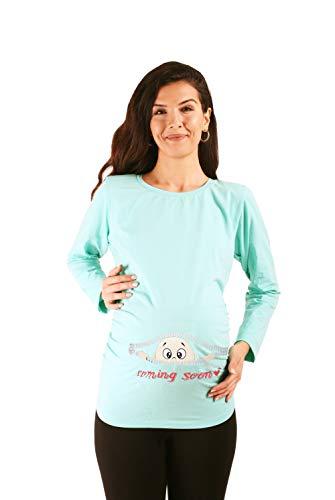 Coming Soon - Ropa premamá Divertida y Adorable, Camiseta con Estampado, Regalo Durante el Embarazo - Manga Larga (Turquesa, Large)