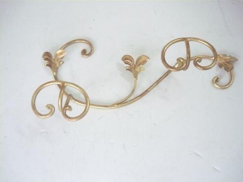 arterameferro Attaccapanni Appendiabiti in ferro battuto a 2 posti da parete ORO ANTICO