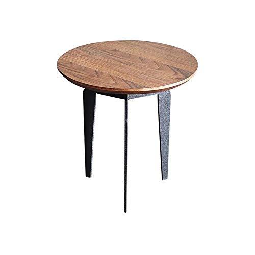 BJYG - Mesa auxiliar de hierro forjado con diseño de mesa auxiliar de metal y madera decorativa para lámpara de café, florero para muebles de estudio, sala de estar,