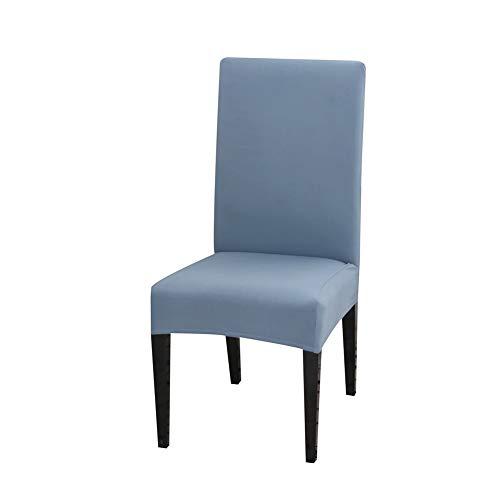 Fundas de silla para sillas de comedor, fundas protectoras de asiento de silla de cocina, respaldo alto, poliéster, elástico, lavable y extraíble (juego de 6, color azul gris)