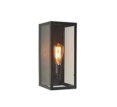 The only goede kwaliteit decoratie retro industriële wandlamp creatieve waterdichte wandlamp glazen box voor binnen en buiten smeedijzeren behuizing, zwart, A Villa