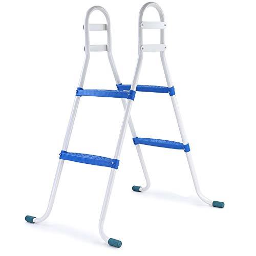 RAMROXX 39418 Poolleiter Pool Swimmingpool Leiter mit 2 Stufen Blau universal bis 85cm