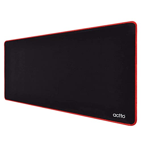 Actto Wide Gaming Mouse Pad with Stitched Edges, Large Mousepad with Premium-Textured Cloth, Non-Slip Rubber Base, Waterproof Keyboard Pad, Desk Mat Pad for Gamer, Office & Home, 23.6 x 13.4 Inches,