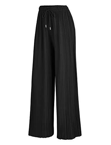 Made By Johnny MBJ WB1484 Womens Pleated Wide Leg Palazzo Pants with Drawstring OneSize Black
