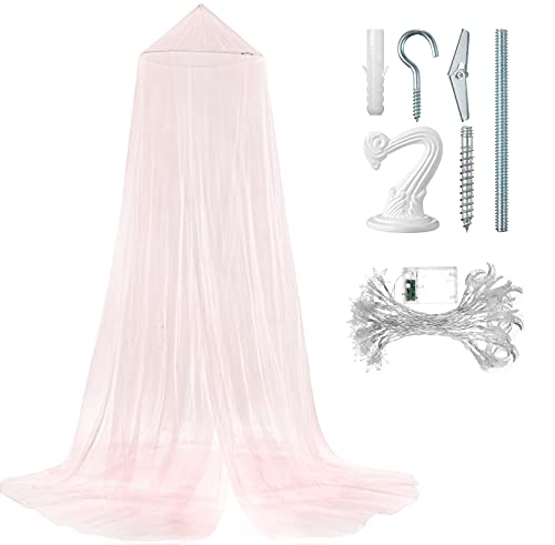 Bed Canopy Mosquito Net, Moon and Star String Light and Ceiling Hanger for Baby, Kids or Adults, Covering Baby Crib, Kid Bed, Girls Bed or Full Size Bed (Pink)