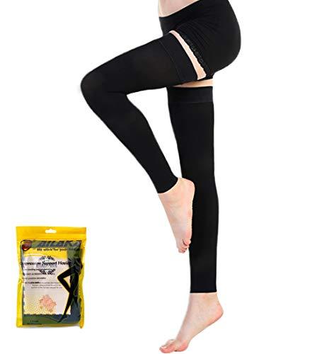 Ailaka - Medias de compresión para hombre y mujer, con muslo alto 20-30 mmHg, apoyo firme graduado, calcetines de venas de varicosa, viajes, medias formales casuales, XL, 1