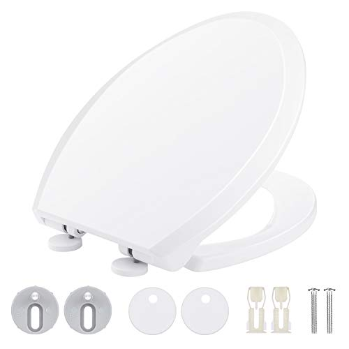 Himimi toilet seat, elongated quiet-close toilet seat with cover, easy to install & clean, removable, white, plastic (474 x 360 x 59 mm)
