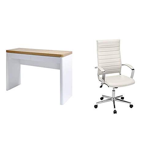 Amazon Brand -Movian Aulne 2-Drawer Desk, 111 x 39 x 76cm, White/Light Brown Oak-Effect Top & Amazon Basics High-Back Executive Swivel Chair with Ribbed Puresoft PU - White